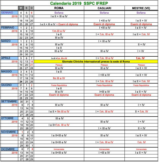 Calendario 2019 SSPC-IFREP