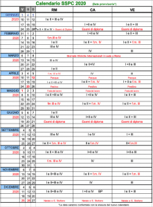 Calendario 2020 SSPC-IFREP
