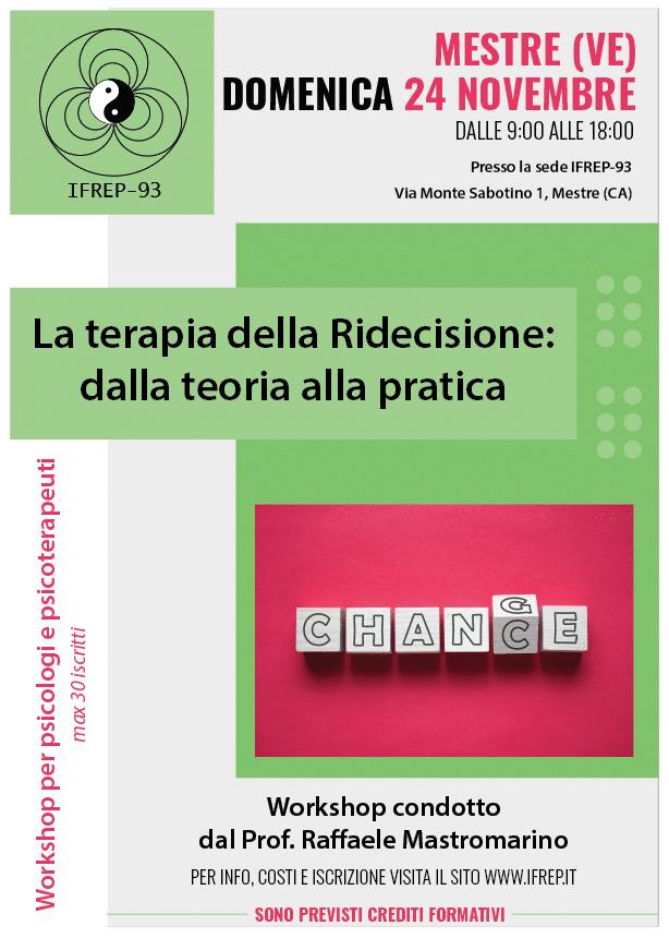 Mestre – La Terapia della Ridecisione, workshop per psicologi e psicoterapeuti