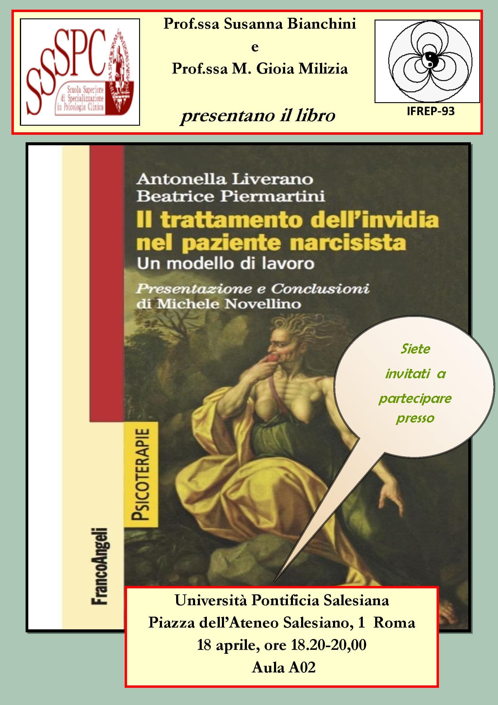"""Read more about the article Presentazione del libro: """"Il trattamento dell'invidia nel paziente narcisista"""""""